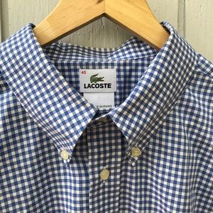 Lacoste Alligator Button-Down Blue Gingham Shirt